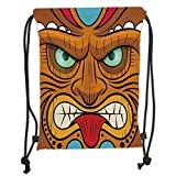 ZKHTO Drawstring Sack Backpacks Bags,Tiki Bar Decor,Cartoon Style Angry Looking Tiki Warrior Mask Colorful Icon Totem Culture Decorative,Multicolor Soft Satin,5 Liter Capacity,Adjustable STRI