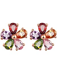 Peora Jewellery Multicolor AAA Cubic Zirconia 18K Rose Gold Plated Floral Stud Earrings Women and Girls