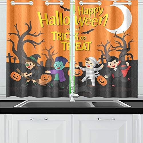 JIUCHUAN Happy Halloween Kinder gekleidet Halloween Phantasie Küchenvorhänge Fenster Vorhangebenen für Café, Bad, Wäscherei, Wohnzimmer Schlafzimmer 26 X 39 Zoll 2 Stück
