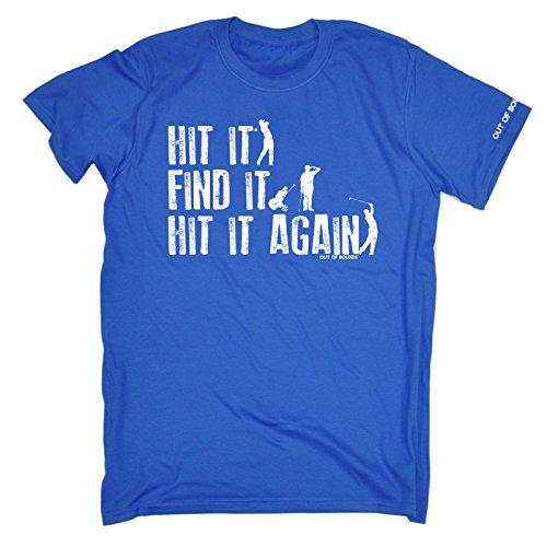 Out Of Bounds Herren–Hit It Finden It Hit It Again–Loose Fit T-Shirt (Distressed Stil Print) Geburtstag Lustiges Geschenk für Sie für Ihn Gr. Large, Königsblau (Shirt Distressed Golf)