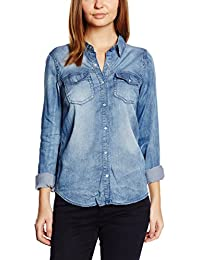 VILA CLOTHES Damen Hemd Vibista Denim Shirt-noos