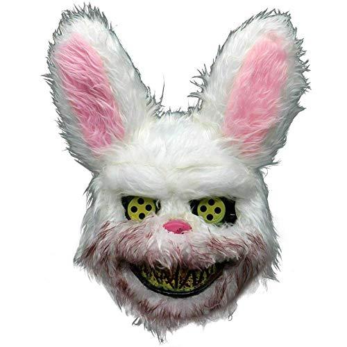 Lanbowo Weiß Häschen Bär Blutig Zähne Gruselig Scary Maske Kostüm Halloween Cosplay - - Kaninchen Zähne Kostüm