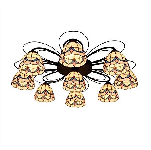 Mehrkopf Tiffany Style Deckenleuchte Mittelmeer Glasmalerei Deckenleuchten Wohnzimmer Schlafzimmer Anhänger Deckenleuchten E27 (Größe : 9 heads) -