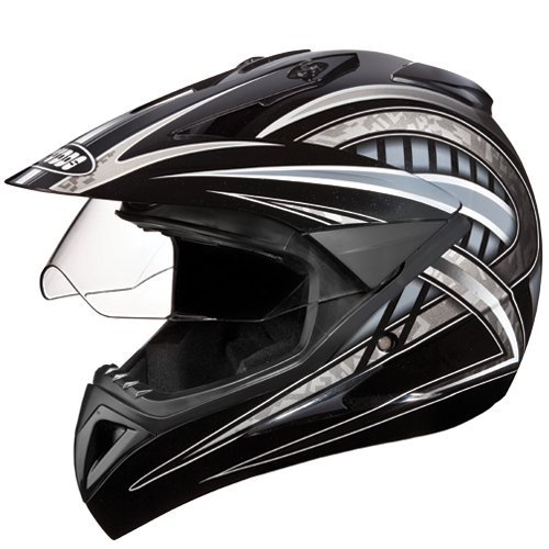 Studds Motocross D2 Helmet With Visor (Black N4, L)