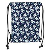 Icndpshorts Drawstring Backpacks Bags,Indigo,Hawaiian Island Spring Summer Time Flowers Buds Leaves Image,Navy Blue Fern Green and White Soft Satin,5 Liter Capacity,Adjustable String Closure,T