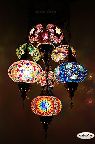 Mosaïque Lampe suspension mosaïque Lampe Plafonnier Lampe Suspension Style Oriental turc 7 grandes boules