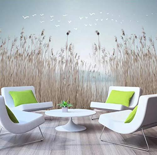 Tapete 3D Foto Mural New Chinese Nordic Einfache Blumen Und Pflanzen Schilf Frische Nachttisch Hintergrund Wandpapier-(W)140X(H)100Cm
