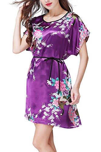 Dolamen Damen Satin Nachthemd Negliee, Sleepshirt Schlafanzug, Luxus Pfau & Blüten Ladies Kurzarm Nachtwäsche Nachtkleid Lingerie Pyjamas Sleepwear, Büste 112cm, 44.09 Zoll Lila