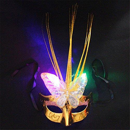 Gesichtsschutz Domino falsche Front Halloween Maske Make-up Tanz Cosplay Glow Maske Halbes Gesicht Leuchtende Maske Gold ()