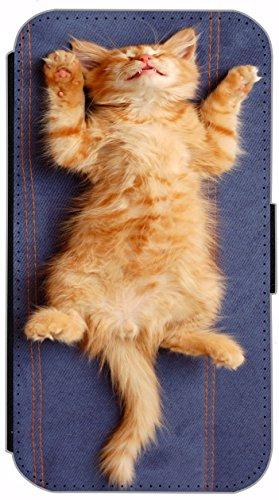 Kuna Flip Cover für Apple iPhone 5 / 5s Design K450 Baby Katze Hülle aus Kunst-Leder Handy Tasche Etui mit Kreditkartenfächern Schutzhülle Case Wallet Buchflip Rückseite Schwarz Vorderseite Bedruckt m K442