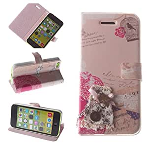 NineSeas Plain Color Premium Folio Leather Case Cover and Flip Stand for Apple iPhone 5c with Magnetic Button and Flower Pattern Decorations Exquisite Retail Package For Girls