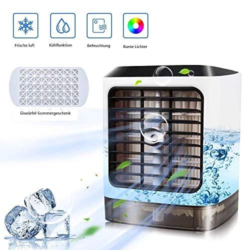 USB Tragbare Klimaanlage Luftkühler Luftbefeuchter, 4-in-1 Mobile Luftreiniger Büro Desktop-Luftkühler Mini-Lüfter für Zuhause, Innen-, Küchen-, Außenbereich