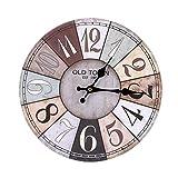 Wanduhr Uhr, 50CM Runde Wanduhr - Stumm, Arabische Digital Design Dekorative Wanduhr, Vintage-Stil (Farbe : A)