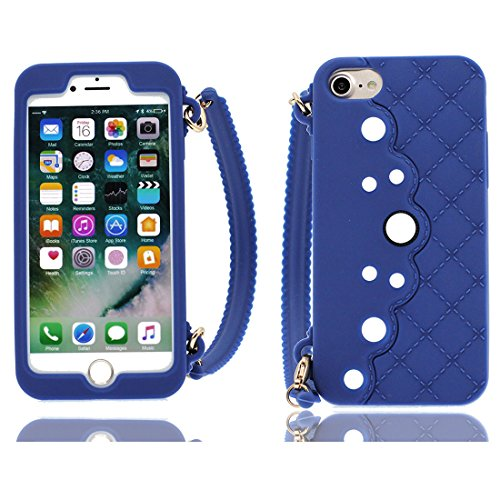 Nero 3D pesce ) iPhone 8 Custodia, iPhone 8 copertura 4.7 Survivor Protective case / Cartoon Morbido TPU Cover Shell Scivolamento di polvere / Protezione TPU Shell Skin blu
