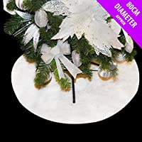Couvre-pied doux pour sapin de Noël, blanc pailleté