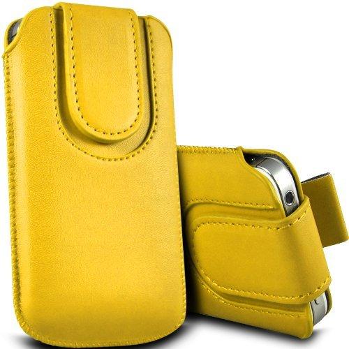Vert/Green - LG Joy Housse et étui de protection en cuir PU de qualité supérieure à cordon avec fermeture par bouton magnétique et écouteurs intra-auriculaires de 3,5 mm assortis par Gadget Giant® Yellow