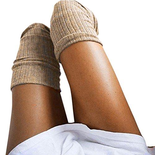 LCLrute Mädchen Damen Frauen Oberschenkel Über die Knie Socken Lange Baumwolle Strümpfe Warm (Khaki) (Frauen über Knie-strumpf)