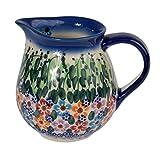 Traditionelle Polnische Keramik, handgefertigte Krüge und Kannen, ein Milch- oder Sahnekännchen mit Muster im Bunzlauer Stil (275 ml), J.101.DAISY