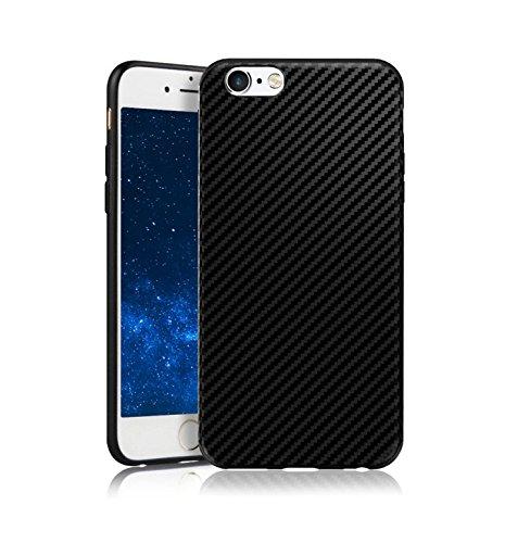 MADIBA iPhone 6 Hülle Carbon Case Design Black (Ultra Dünn) Anti-Fingerabdruck, Anti-Scratch FeinMatt [FederLeicht] Handyhülle Bumper Cover Schutz Silikon Premium (I Phone 6 Plus Cover Für Männer)