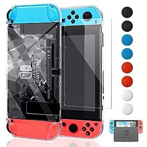 YUANHOT Dockable Schutzhülle für Nintendo Switch mit Displayschutz, Verbesserte Version, klare Hülle für Nintendo Switch Konsole und Joy Cons, 3D Klar