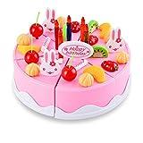 Smibie Torta di Compleanno di 54 Pezzi Giocattoli per Bambini con Piccolo Coltello, Forcella e Dessert, Rosa
