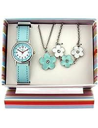 The Olivia Collection- Armbanduhr, Anhänger und Armband mit Blumen. Geschenkset KS005