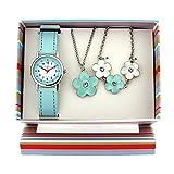 Kinderuhr Geschenk Set Mädchen-Armbanduhr, Blumen - Anhänger und Armband KS005