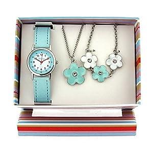 Kinderuhr Geschenk Set Mädchen-Armbanduhr, Blumen – Anhänger und Armband KS005