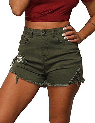 Uoohal Women's Distressed Ripped Denim Shorts Casual Cut Off Jeans Shorts