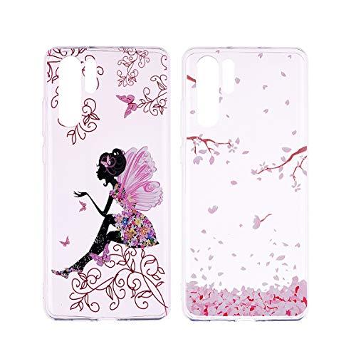 Preisvergleich Produktbild [2 Packs] Hülle für Huawei P30 Pro,  Misstars Transparent Weich TPU Silikon mit Malerei Muster Clear Backcover Anti-Rutsch Kratzfeste Schutzhülle,  Kirschblüten + Mädchen