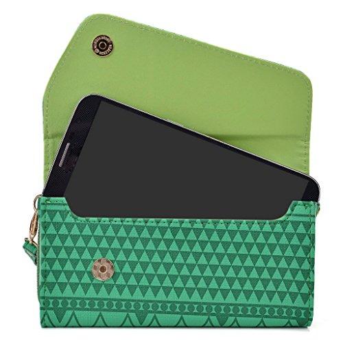 Kroo d'embrayage avec dragonne Portefeuille 16cm Smartphones et phablettes pour Asus Fonepad Note 6/ZenFone 6 Multicolore - vert Multicolore - vert