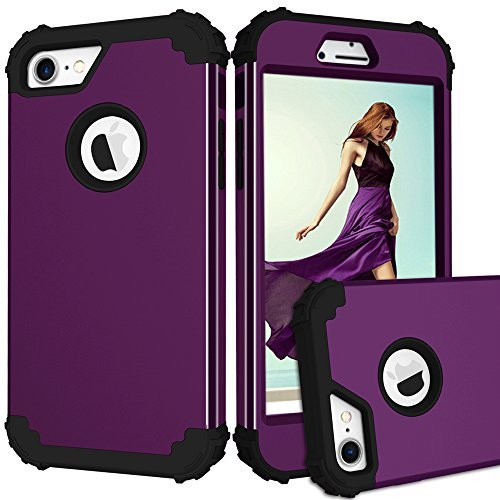topbin iPhone 7Fall, [3in 1] Harte PC und Weiche Silikon Triple Layer Kratzfest Stoßdämpfung Hybrid Armor Defender Fullbody Schutzhülle für iPhone 7Fall, Violett/Schwarz -