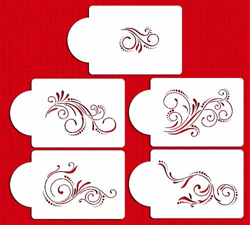 Designer Stencils C480 Five Scroll Cake Stencil Set, Beige/semi-transparent by Designer Stencils -