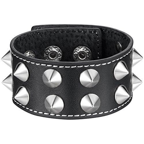 (Metallic Spike Punk Rock Schwarz Leder Manschette Armband, verstellbar, Druckknopfverschluss, Unisex, kkb012he)