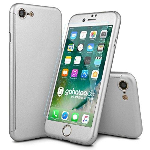 CASYLT® iPhone 8 Hülle 360 Grad Fullbody Case [inkl. 2X Panzerglas] Premium Komplettschutz Handyhülle Silber