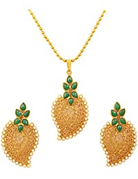 Touchstone Antique Gold Plated Traditional Leaf Pendant Set For Women