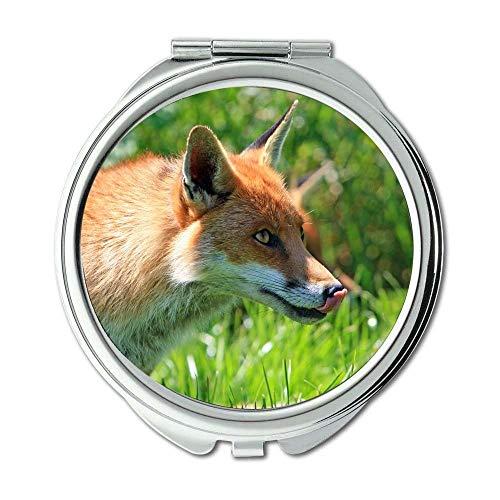 Yanteng Spiegel, Reise-Spiegel, Tierfuchs Natur, Taschenspiegel, tragbarer Spiegel