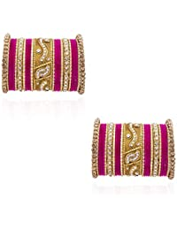 Chinar Traditional Coloured Bangles In Gold And Magenta Color/Colour With Silver Stones,50 Pcs Metal Bangle/Kada...