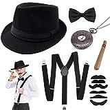 SPECOOL 1920s Gángster Disfraces Accesorios Hombre Conjunto Flapper Gran Juego Gatsby con elástico de Sombrero Ligera con Espalda en Y Corbata de Lazo Reloj de Bolsillo Vintage Cigar