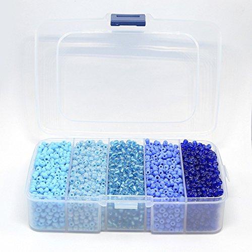 Perlen Mix blau mit Plastikbox DIY vom Bastel Express