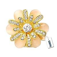 SENFAI 6 Drop Shape Opal Crystal Flower Brooch Jewelry Women Birthday Gift (Gold)