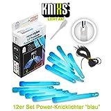 KNIXS 12er Set Premium Power-Knicklichter in blau leuchtend inkl. Spezialhaken und Befestigungsband Party, Festival, Outdoor oder als Dekoration