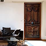 Türtapete XXL 90x210 cm ! Premium Vliesleinwand mit Samt Haptik! Fototapete Tapete Türpanel Türposter Tür Foto Bild Design Natur Holz braun d-A-0064-a-c