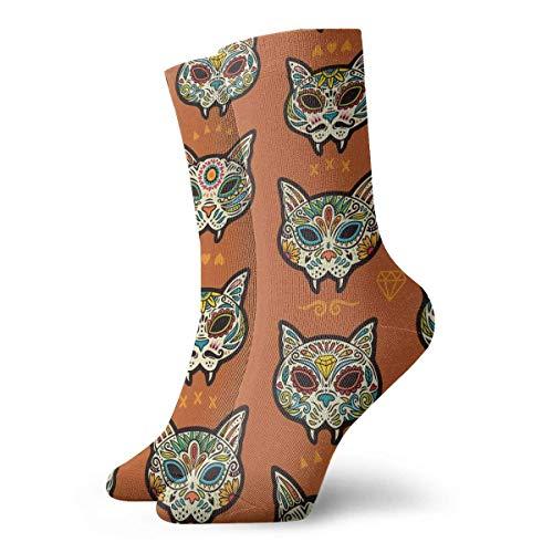 yting Diamanten-Katzen-Schädel Erwachsene atmungsaktive kurze Socken 30 cm Baumwolle klassische Socken für Herren Damen Yoga Wandern Laufen -