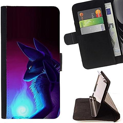 Momo–Teléfono móvil/Cartera de piel cubierta de la caja con ranuras para tarjetas–Fox Wizzard Antiguo Egipto Diosa Art–Samsung Galaxy Note 4IV