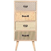 VIVA HOME Cómoda de madera, 34.5 x 30 x 76.5 cm, Mueble de almacenaje para salón o dormitorio, con 4 cajones diferentes, Color claro