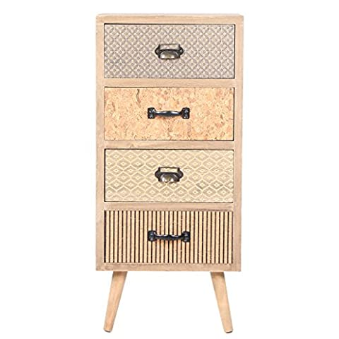 Viva Home Wooden Storage Cabinet Purely Handmade Stable With Legs And 4 Drawers, Brown, 34.5 x 30 x 76.5 cm
