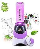 NUTRILOVERS Mini Smoothie Maker – Mixer mit Trinkflasche (600 ml + BPA frei) | elektrisch 300 Watt Standmixer to Go Flasche mit Deckel – lila
