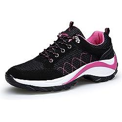 KOUDYEN Atlético Zapatos Chicas Mesh Zapatillas de Deporte Fitness Plataforma para Mujer,XZ006-black-EU40