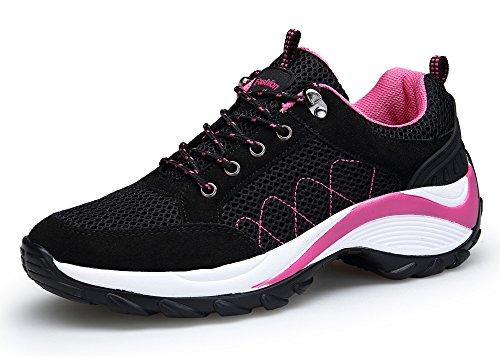 DAFENP Donna Sneakers Scarpe da Ginnastica Corsa Sportive Fitness Running Basse Interior Casual all'Aperto (38 EU, Nero)